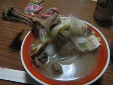 Huge bowl of wild boar soup