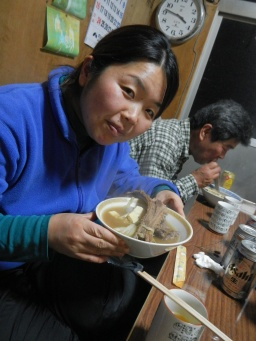 Tomoko with her wild boar soup