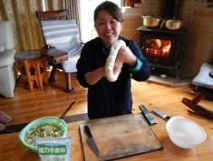 Making home-made gyoza (dumplings)