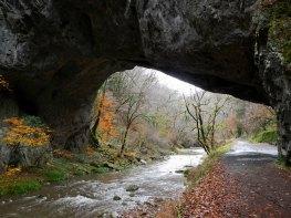 Onbashi - giant natural limestone bridge in Taishaku Gorge