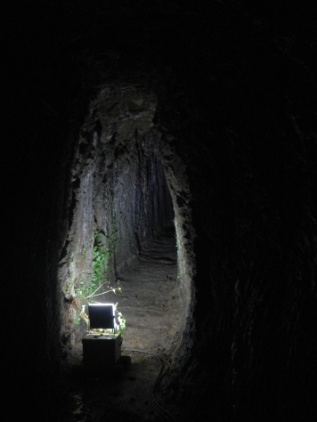 One of the old narrow mine shafts in the Iwami Ginzan silver mine