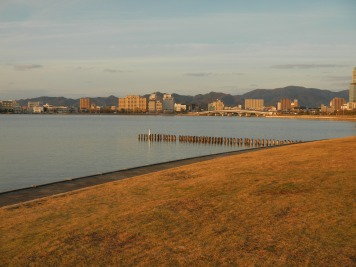 Late afternoon at the waterfront at Shimane Art Museum in Matsue