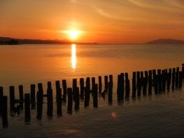 Old dock remains at sunset (Lake Shinji, Matsue)