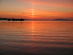 Ripples at dusk over Lake Shinji