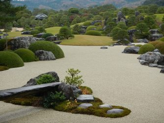 Immaculate pruning and raking at Adachi Museum of Art gardens