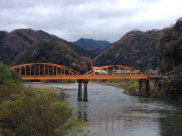 An orange bridge! (Somewhere between Miyoshi and Oda)