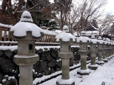 Snow-capped lanterns