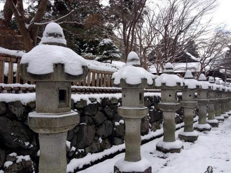 Snow-capped lanterns