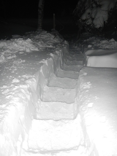 Finally finished the stairs after dark
