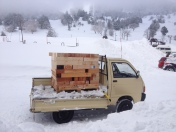 Time to unload a new batch of Californian redwood, which we burn in the lodge's stove