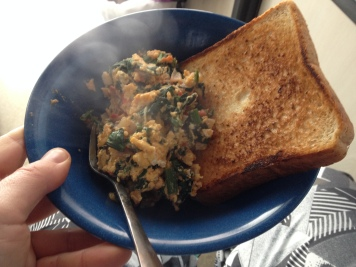 Breakfast of champions: scrambled eggs and toast