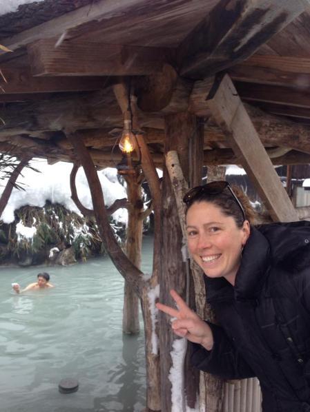 At Tsuru-no-yu onsen - a mixed outdoor bath