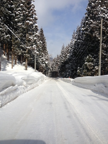 Snowy roads and sunny morning in Akita