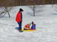 Adults and kids having fun with sleds
