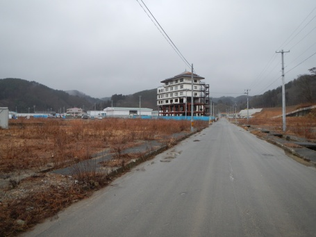 Bare land and old washed out hotel in Miyako (Iwate pref)