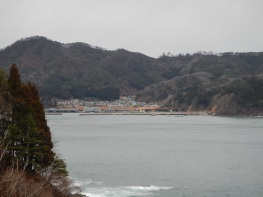 An isolated seaside community where the height of the tsunami damage is clearly visible