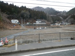 Clear line showing where the tsunami destroyed houses