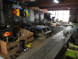 The main living/dining area and kitchen at Kurikoma Kougen Nature School (Miyagi pref)