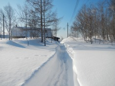 Part of the path to the house through the deep snow drifts