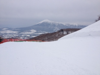 View from Appi to 'one-sided Fuji' mountain