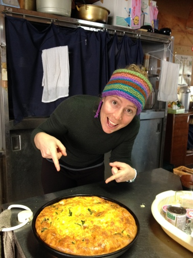 Me with a giant frittata I made for lunch