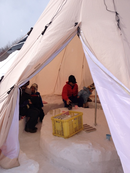 Time for lunch in the teepee (Parent/child camp, Kurikoma Kougen)